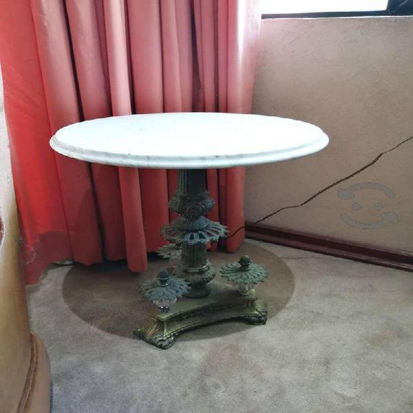 Mesa de bronce y marmol travertino vintage