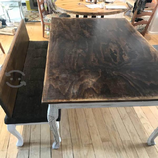 Mesa y banca para comedor madera encino