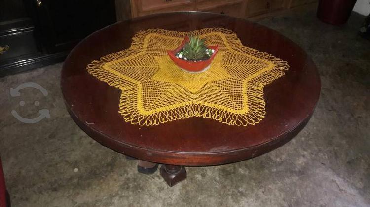v/c mesa de centro de caoba con vidrio