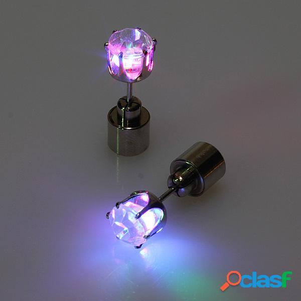 1 par de pendientes de navidad Pernos de orejas con LED