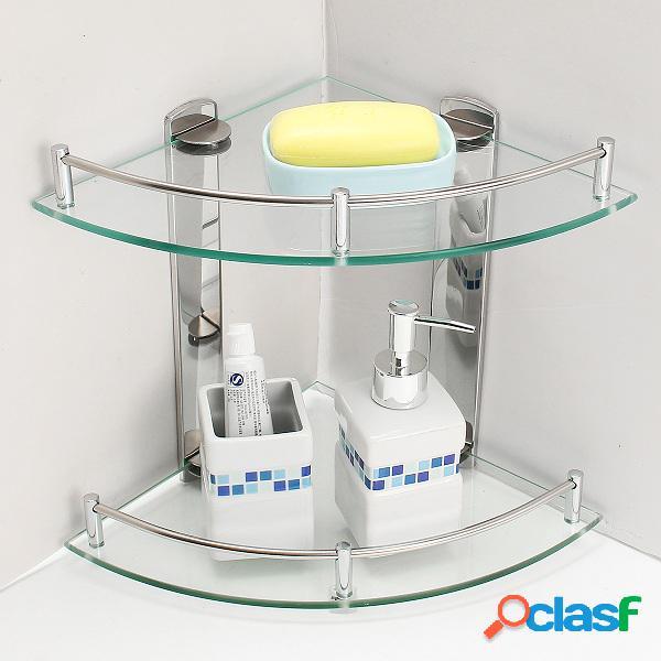 2 capas de vidrio de baño doble capa de acero inoxidable de
