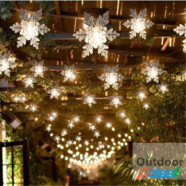 20 LED de copo de nieve de hadas de cuerda de la ventana de
