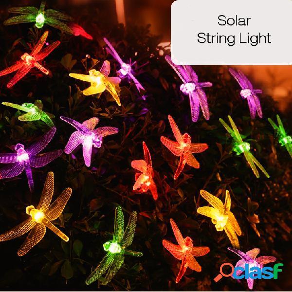 20 LED libélula colorido luces de cuerda luz solar Powered