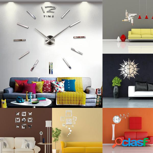 Big grandes DIY Frameless reloj de pared Kit 3D Espejo
