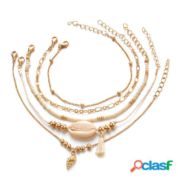 Bohemian Multilayer Gold Bracelet Set 5PCS Shell Conch Beads