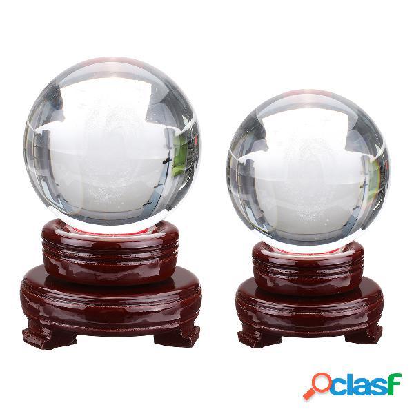 Bola de galaxia de cristal con base de madera, accesorios de