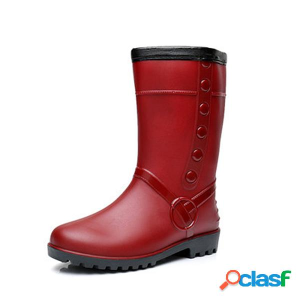 Botas de lluvia impermeables en rojo con forro de peluche