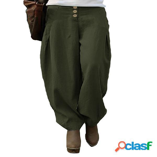 Botón Cintura Elástica Plus Tamaño Harem Pantalones para
