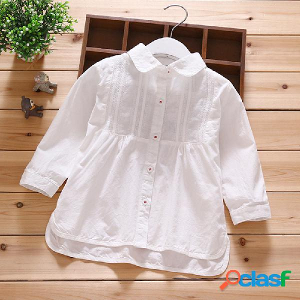 Botón liso de manga larga para niñas pequeñas Camisa Tops