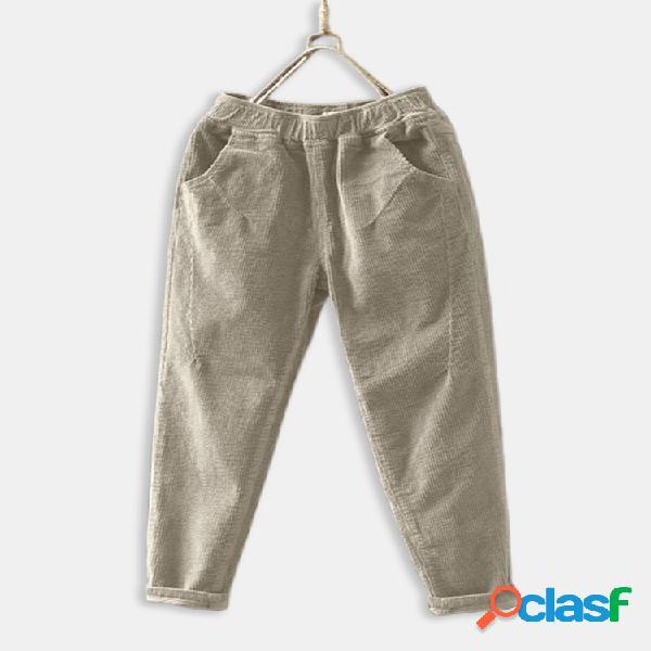 Cintura elástica de pana Plus Tamaño vendimia Pantalones