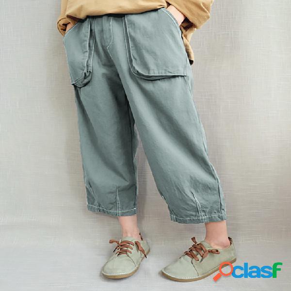 Cintura elástica informal Plus Tamaño Harem Pantalones con