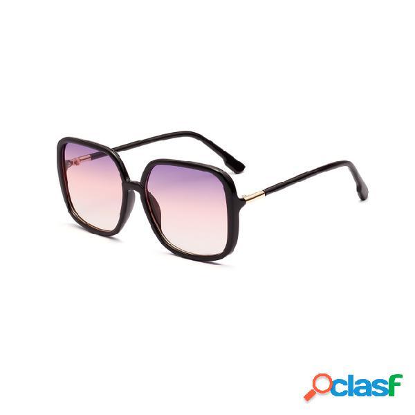 Color Ocean Lente Gafas de sol Square Semi-metal Retro Gafas