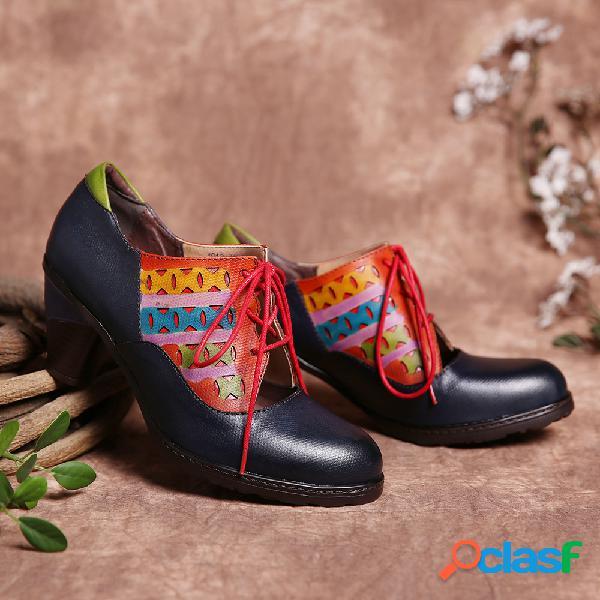 Contraste de cuero Corte y empalme Recorte Zapatos de tacón