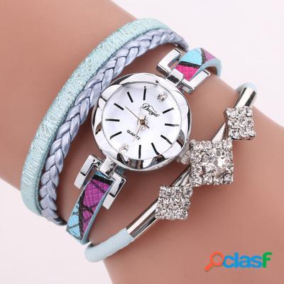 DUOYA D255 Flower Dial Mostrar reloj de pulsera de moda
