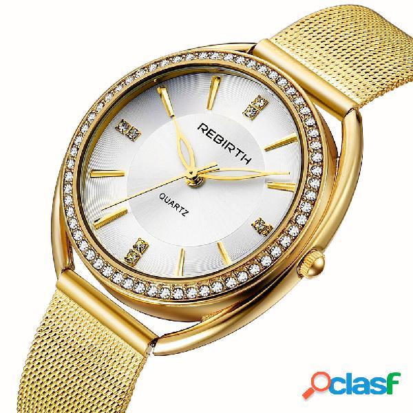 Diamond Dial Case Reloj de pulsera para mujer, con diseño