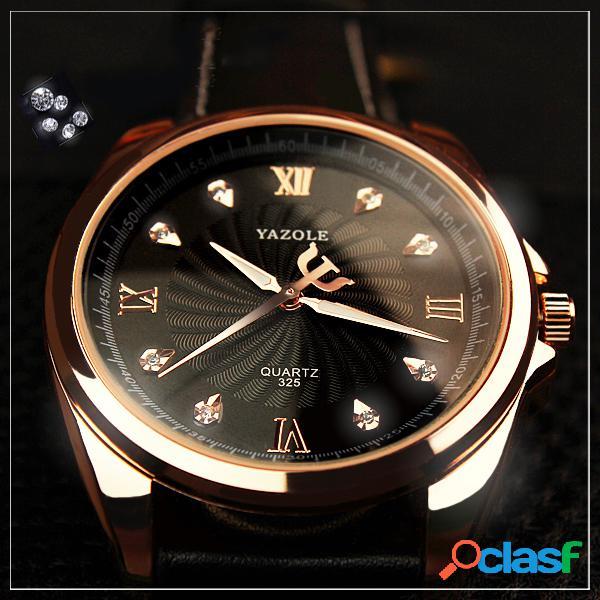 Estilo de la moda Hombres Reloj de cristal Oro rosa Caso