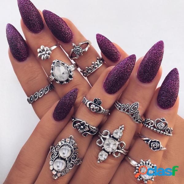 Fashion Opal Rings Set 13 piezas Flor Corazón Anillo