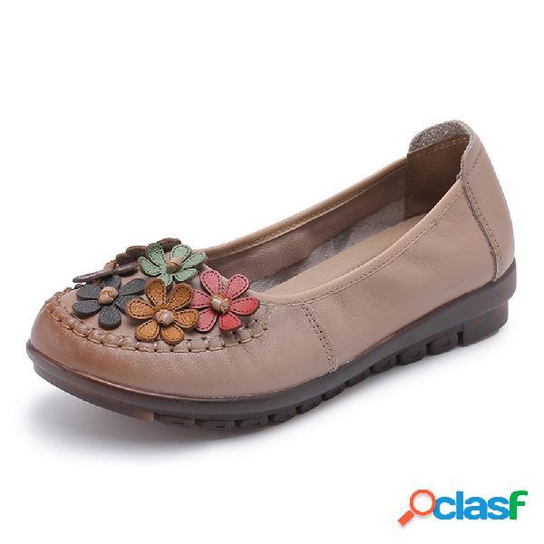 Flor de costura de cuero Slip On zapatos casuales planos