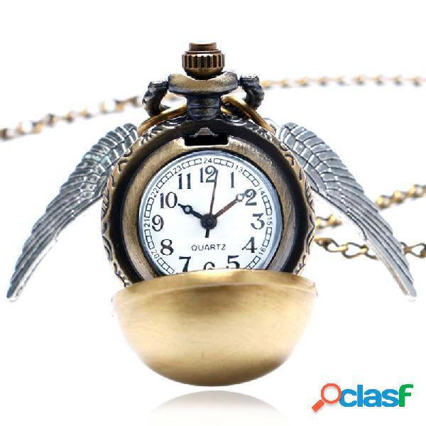 Golden Wings Snitch reloj de bolsillo de cuarzo collar