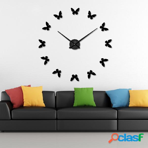 Gran 3D reloj de pared de bricolaje decoración para el