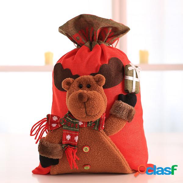 Gran bolsa de Navidad de Santa Claus Saco Muñeco de nieve