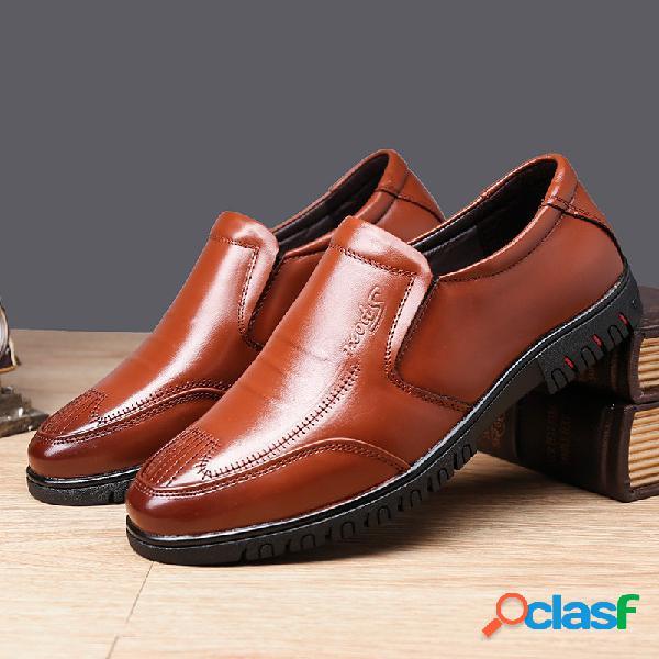 Hombre Pure Color Piel Genuina antideslizante Soft zapatos
