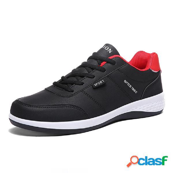 Hombres PU Cuero Lace Up Sport Casual zapatillas de deporte
