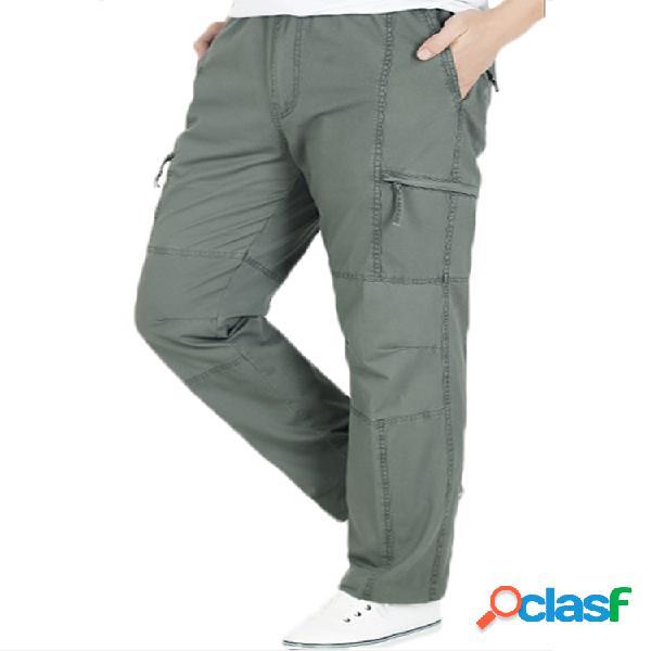 Hombres Plus Tamaño Multi-bolsillo Color sólido Suelto