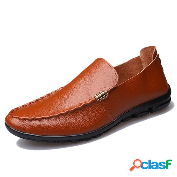 Hombres Pure Color Comfy Soft Sole Slip On Leather Casual