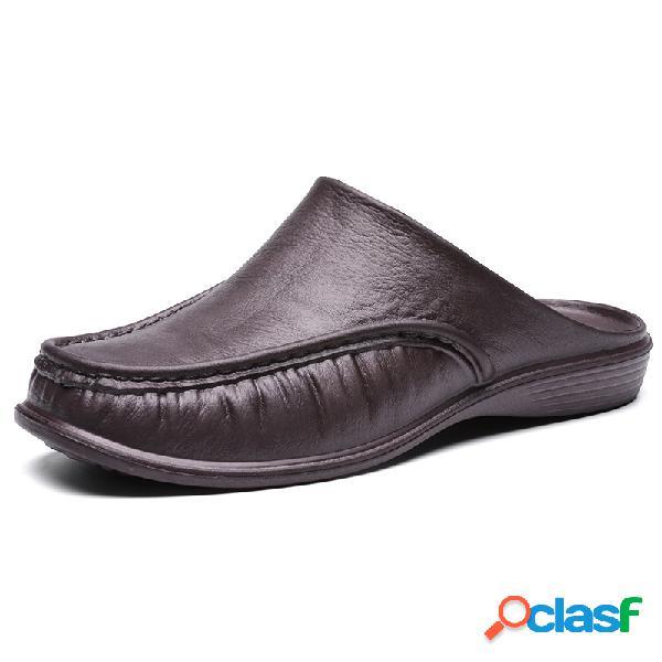 Hombres Pure Color PU Cuero Backless zapatillas Zapatos