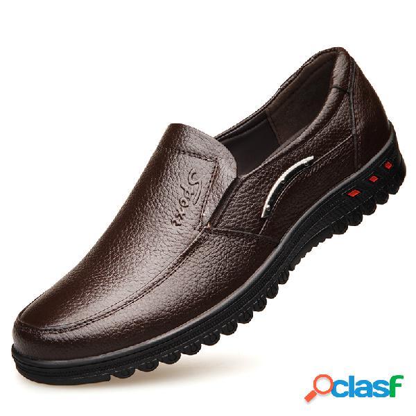 Hombres Pure Color Slip antideslizante en zapatos de cuero