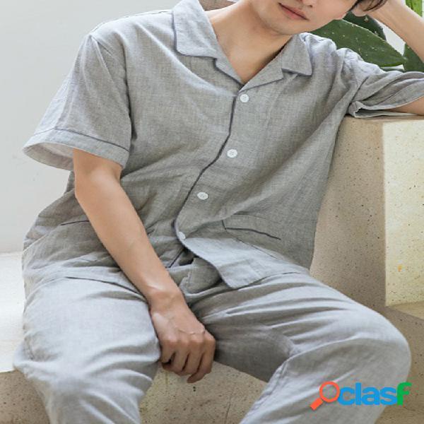 Hombres Pure Color Soft Conjunto de pijama de algodón