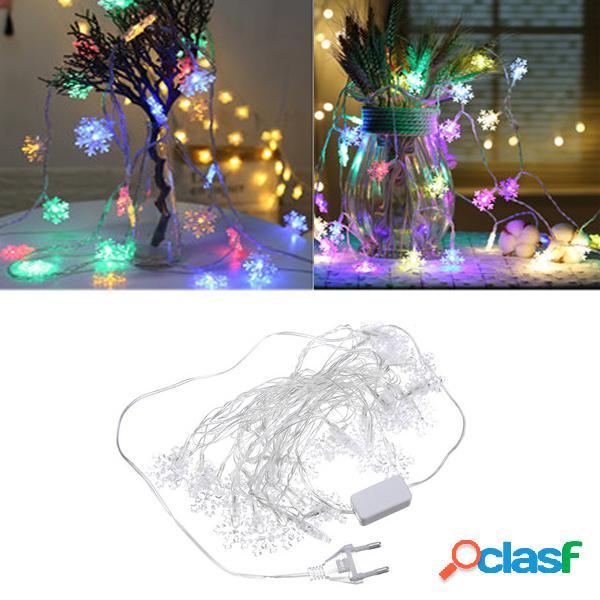 LED de copo de nieve de hadas luz de la cadena de Navidad de