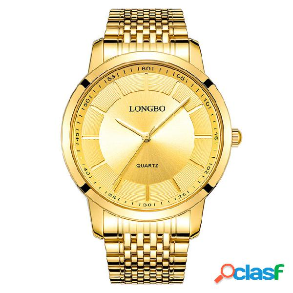 LONGBO Relojes de Oro de Cuarzo Casual de Lujo Relojes de