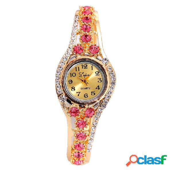 LVPAI étnica de lujo señoras pulsera Rhinestones reloj