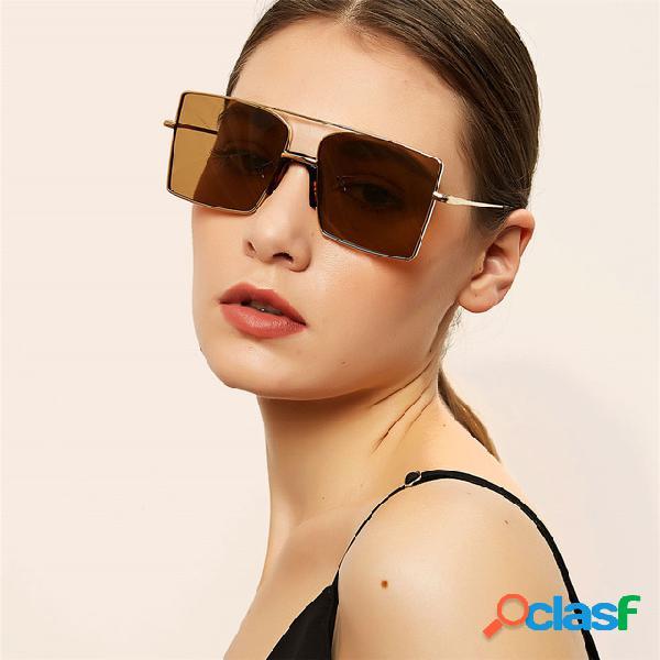 Metal Large Caja Gafas de sol cuadradas Mujer Transparente