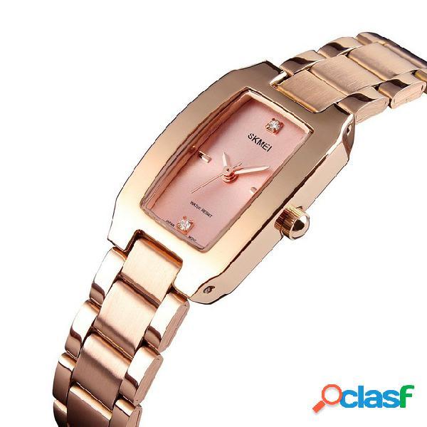 Moda estilo casual reloj mujer Rhinestone acero inoxidable
