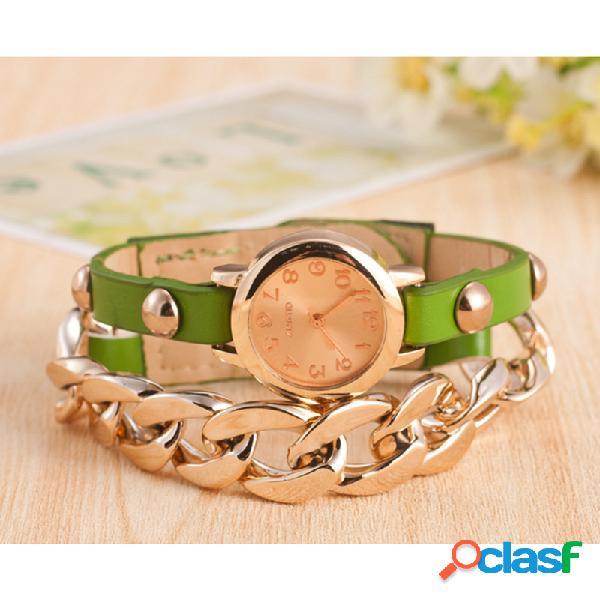 Moderno reloj de pulsera de cuerda de cuero de la PU de la