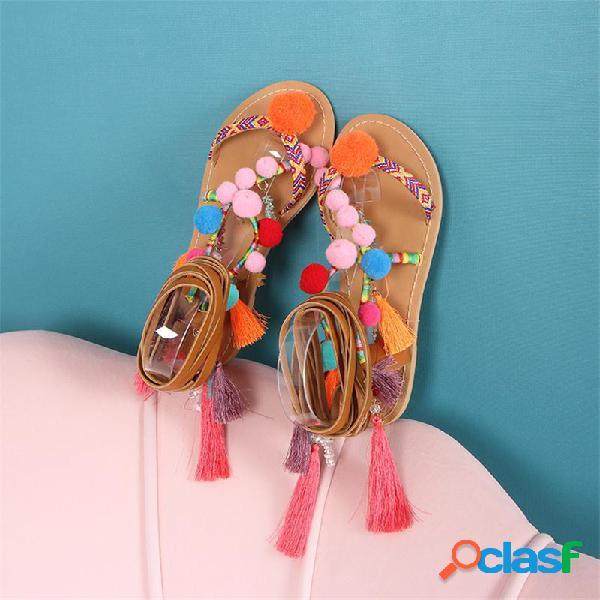 Mujer Borla Decoración Pata Corbata Colorful Pom Pom