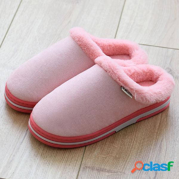 Mujeres cómodas zapatillas de invierno con forro de piel de