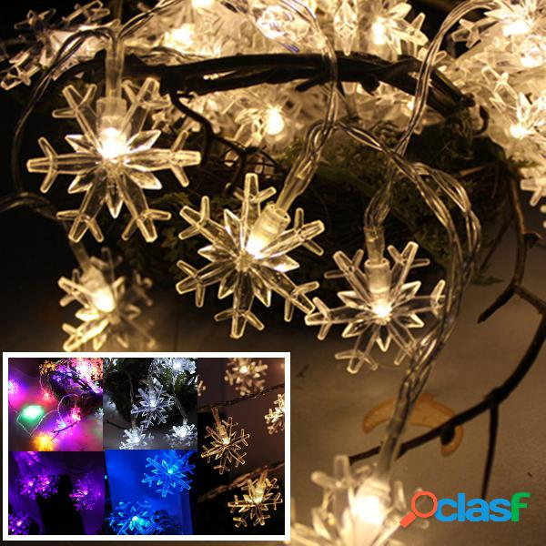 Navidad copo de nieve 20LED 2M hadas cadena luz al aire