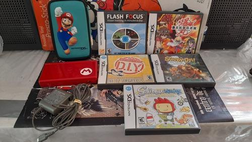 Nintendo Ds Lite Edicion Mario Bros Y 5 Juegos,funciona.