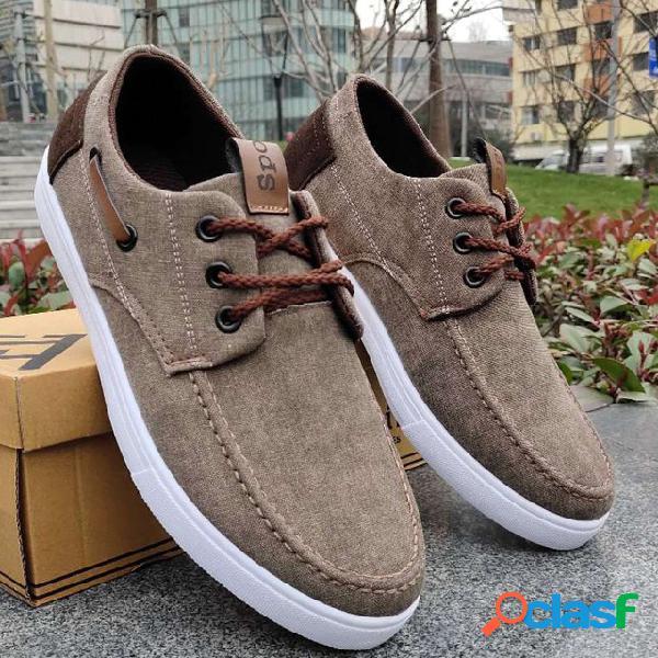 Nuevos zapatos de lona Lino para hombres Zapatos viejos de