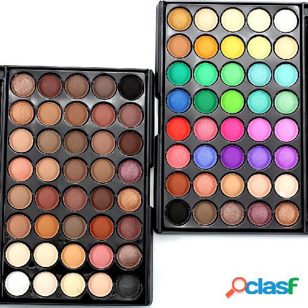 Paleta de sombras de ojas naturales brillantes de 40 colores