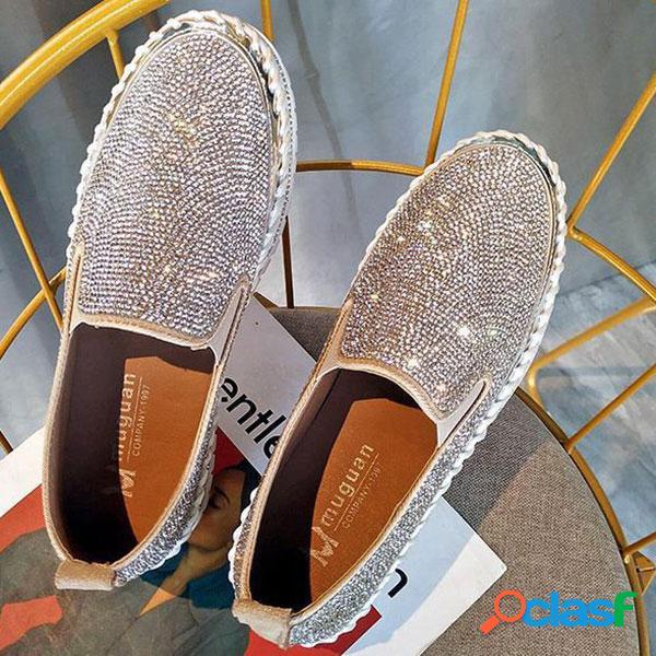 Plus Tamaño Rhinestone Decoración Zapatos casuales planos