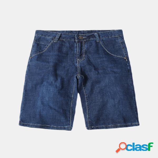 Plus Tamaño casual, lavado corto Jeans para hombres