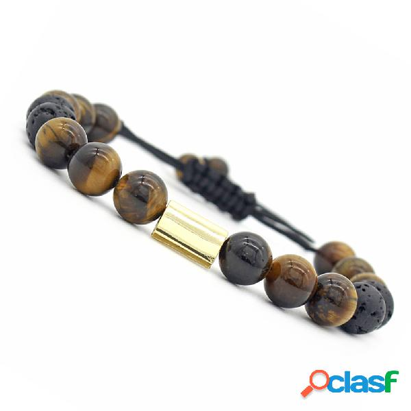 Pulsera de cuentas vintage Tiger Eye Stone Ball Beads