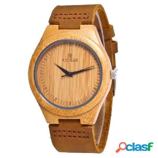 REDEAR Relojes de madera de bambú naturales hechos a mano