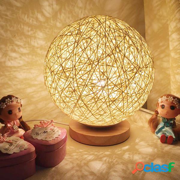 Rattan bola noche luz mesa cama lámpara dormitorio