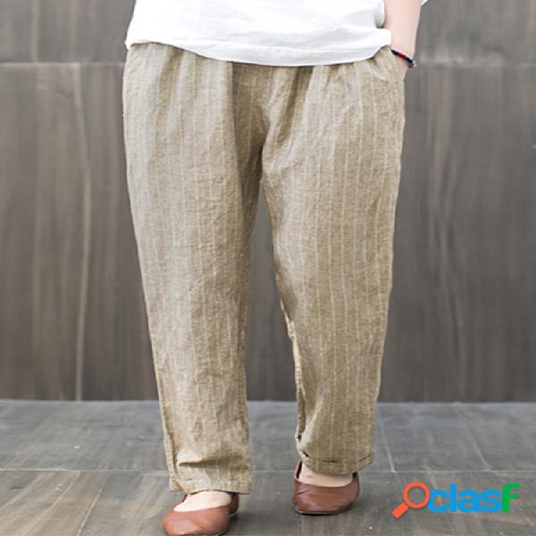 Rayas bolsillos Casual Plus Tamaño Harem Pantalones